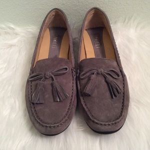 Gray suede Vaneli driving loafers with bow detail.